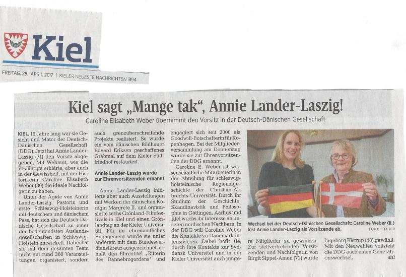 """Artikel """"Kiel sagt 'Mange tak', Annie Lander Laszig"""" in den Kieler Nachrichten vom 28.04.2017"""